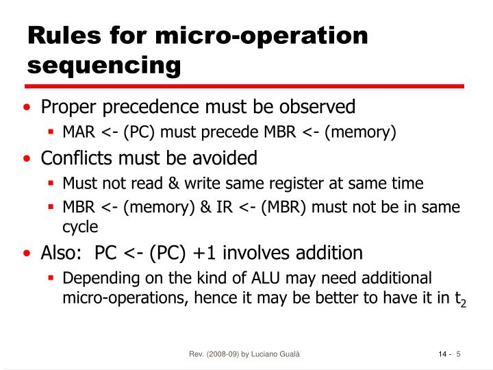 Rules for micro-operation sequencing