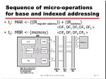 sequence of micro operations for base and indexed addressing