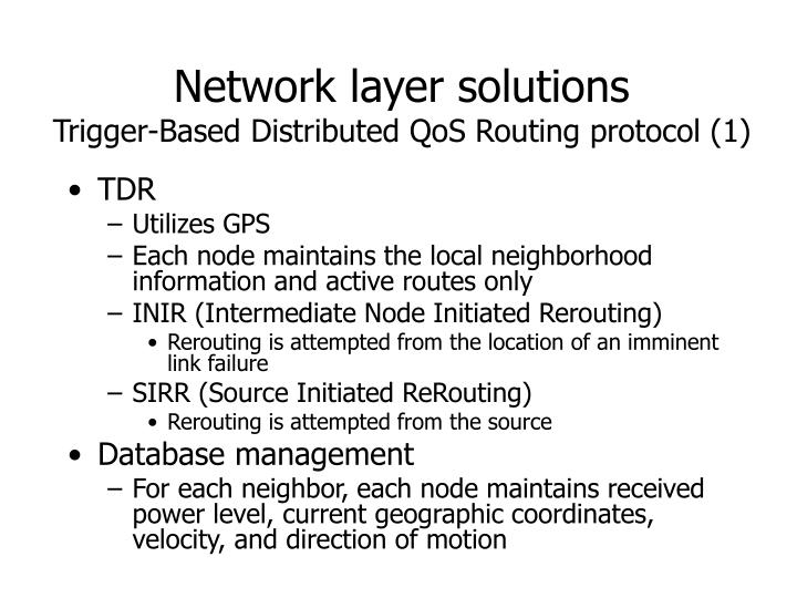 Network layer solutions trigger based distributed qos routing protocol 1