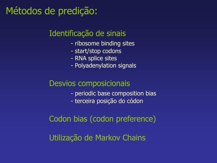 Métodos de predição: