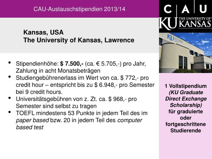 CAU-Austauschstipendien 2013/14