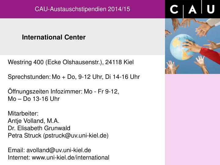 CAU-Austauschstipendien 2014/15
