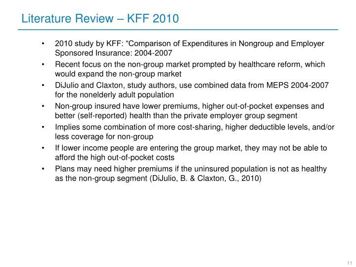 Literature Review – KFF 2010