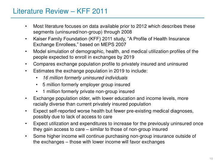 Literature Review – KFF 2011