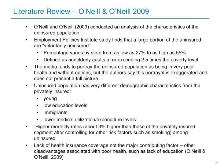 Literature Review – O'Neill & O'Neill 2009