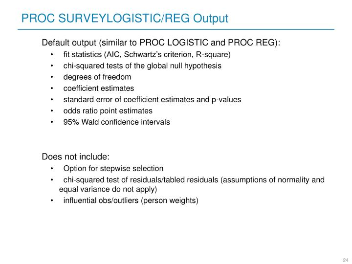 PROC SURVEYLOGISTIC/REG Output
