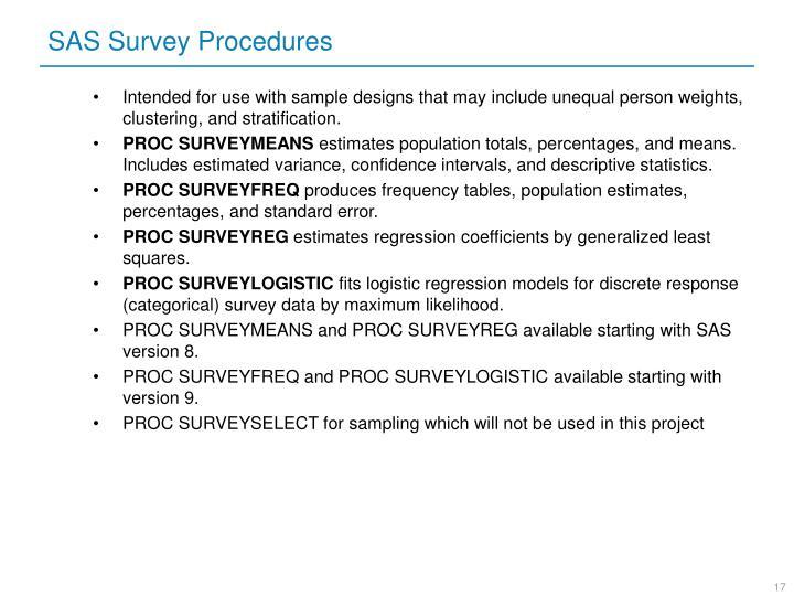 SAS Survey Procedures