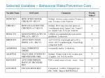 selected variables behavioral risks preventive care