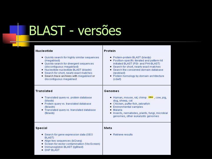 BLAST - versões