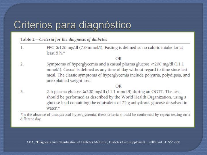 Criterios para diagnóstico