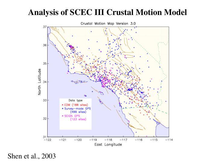 Analysis of SCEC III Crustal Motion Model