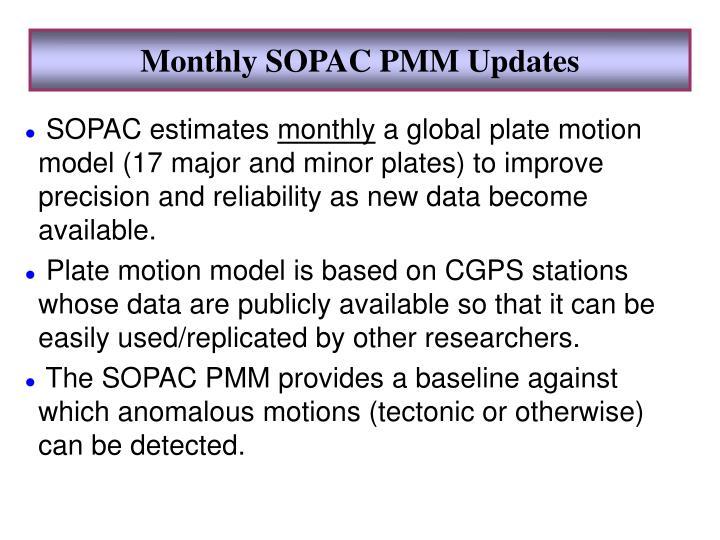 Monthly SOPAC PMM Updates