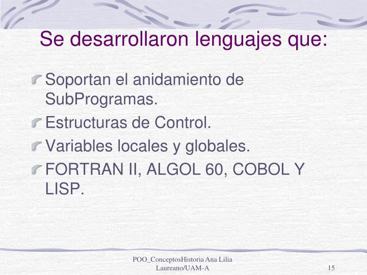 Se desarrollaron lenguajes que: