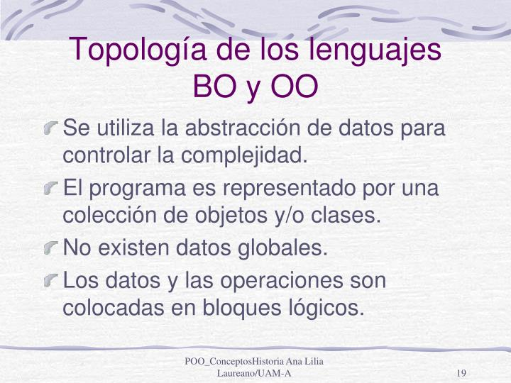 Topología de los lenguajes BO y OO