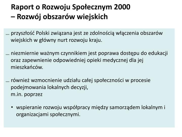 Raport o Rozwoju Społecznym 2000