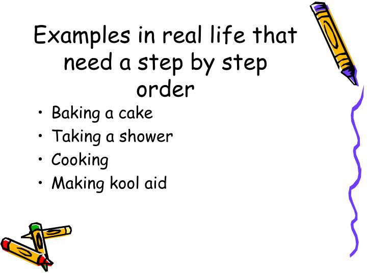 Examples in real life that need a step by step order
