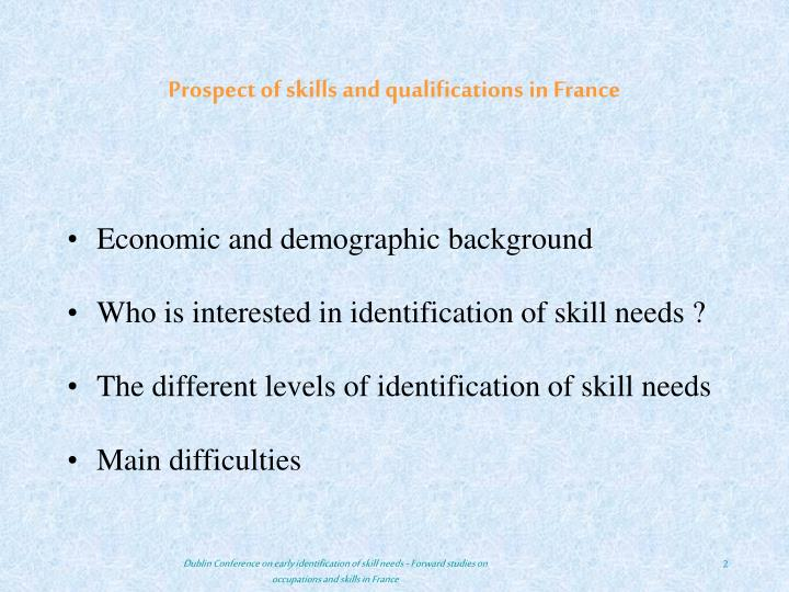 Prospect of skills and qualifications in France