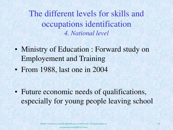 The different levels for skills and occupations identification