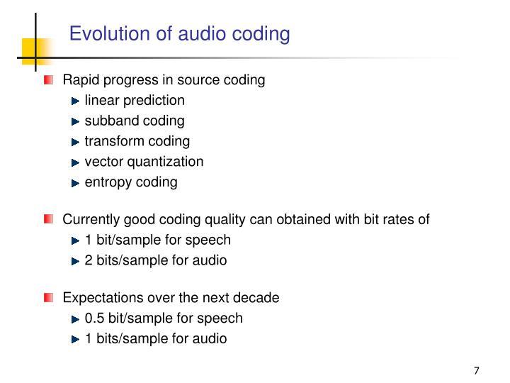 Evolution of audio coding