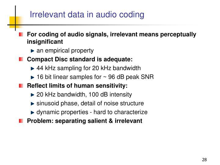 Irrelevant data in audio coding