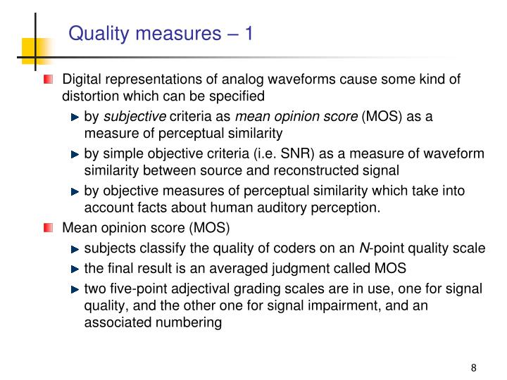Quality measures – 1