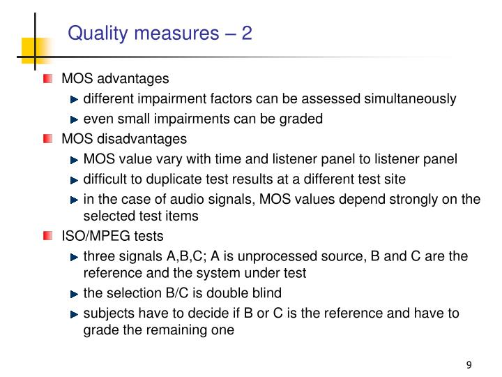 Quality measures – 2