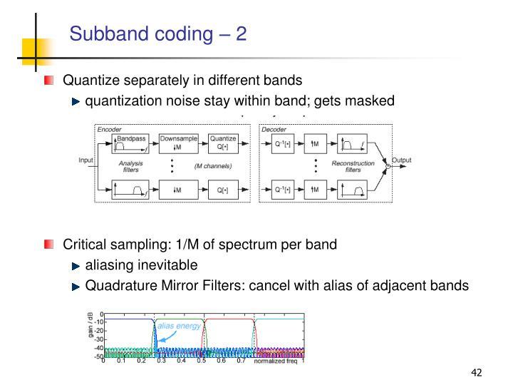 Subband coding – 2