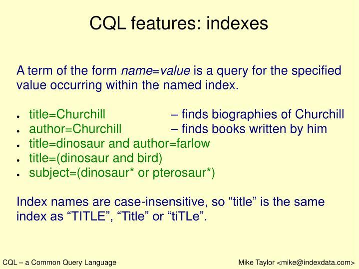 CQL features: indexes