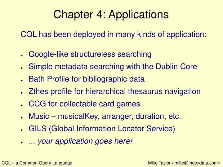 Chapter 4: Applications
