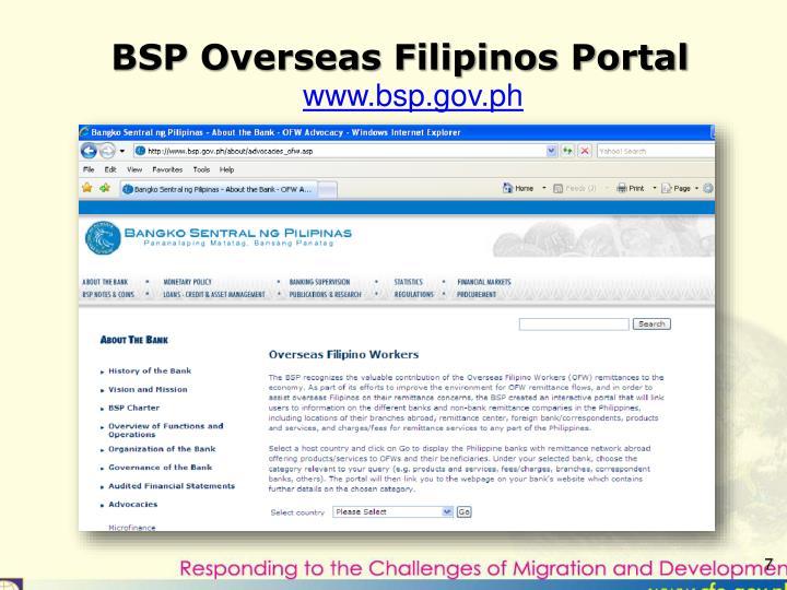 BSP Overseas Filipinos Portal