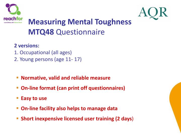 Measuring Mental Toughness MTQ48