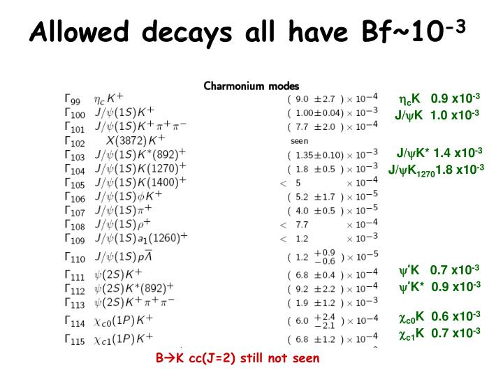 Allowed decays all have Bf~10
