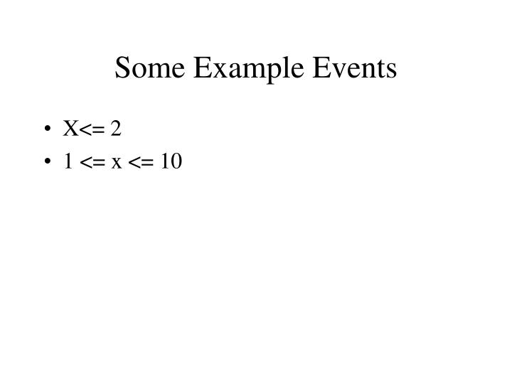 Some Example Events