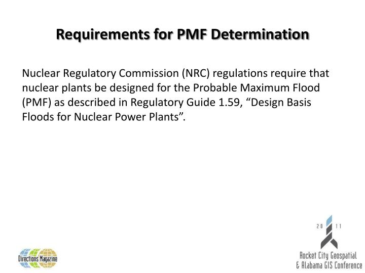 Requirements for pmf determination
