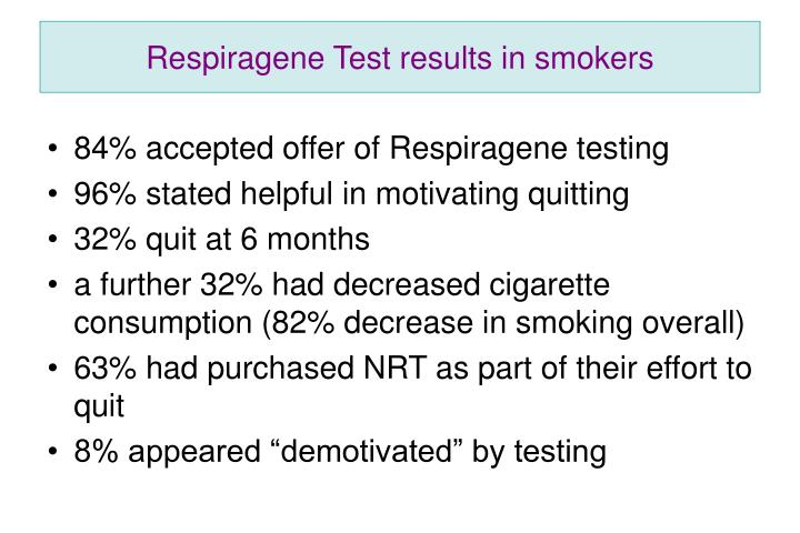Respiragene Test results in smokers