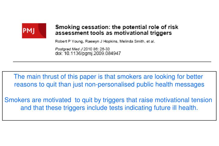 The main thrust of this paper is that smokers are looking for better
