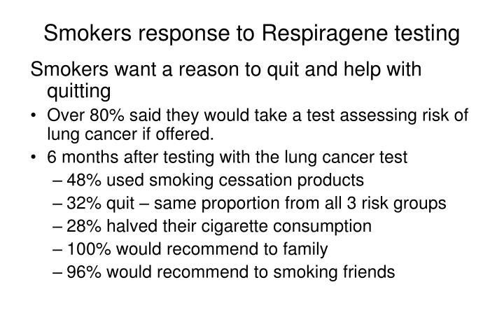 Smokers response to Respiragene testing
