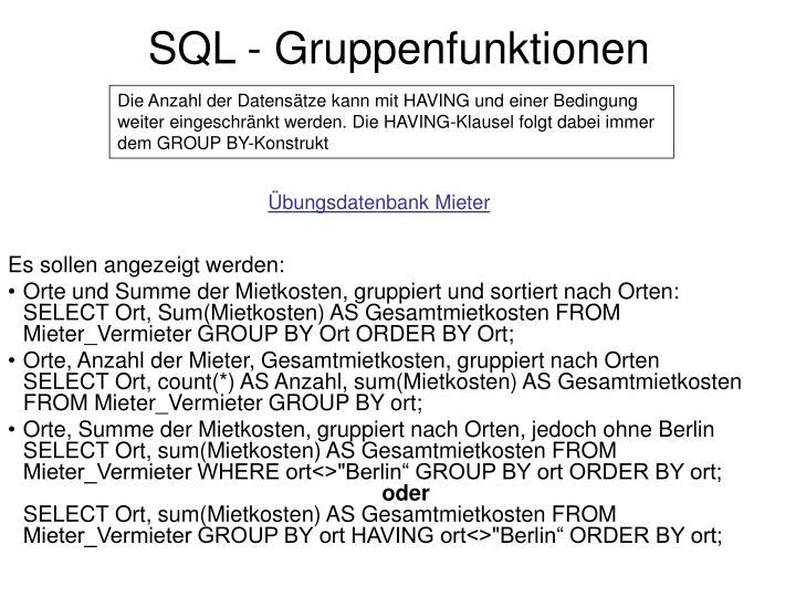 SQL - Gruppenfunktionen