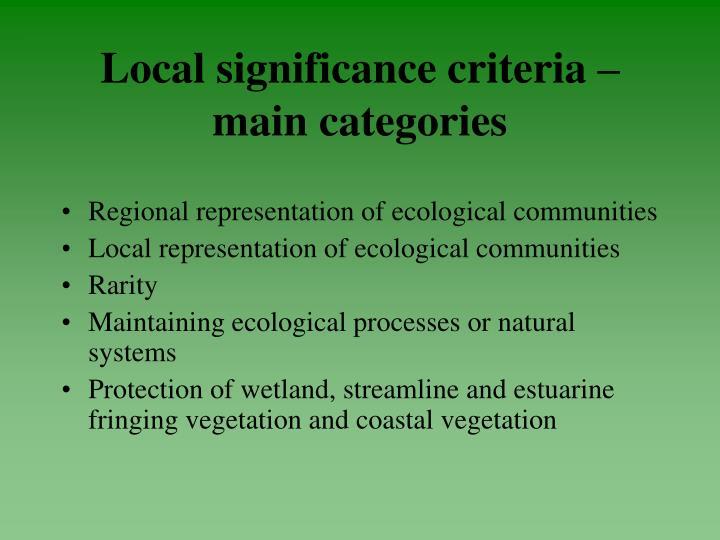 Local significance criteria –