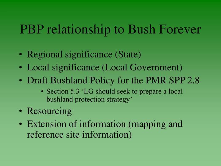 PBP relationship to Bush Forever