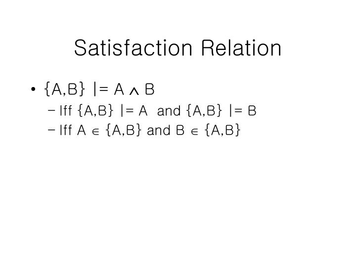 Satisfaction Relation