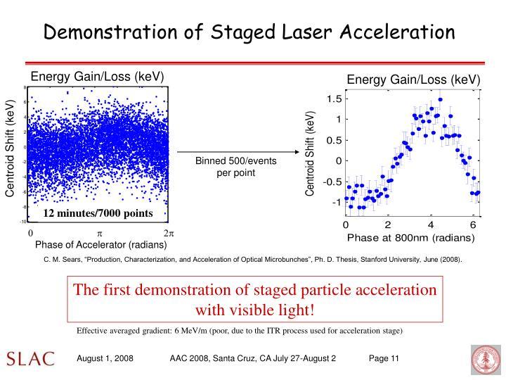 Demonstration of Staged Laser Acceleration