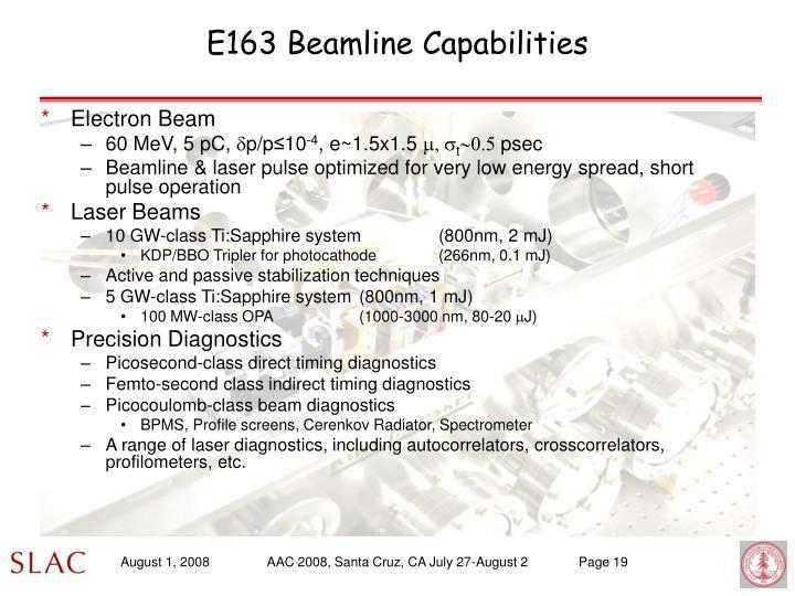 E163 Beamline Capabilities