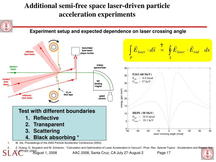 Additional semi-free space laser-driven particle acceleration experiments