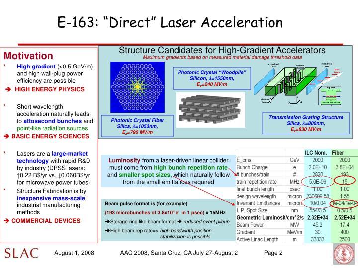 "E-163: ""Direct"" Laser Acceleration"