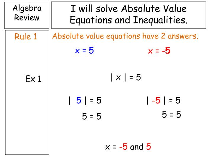 Absolute value equations have 2 answers.
