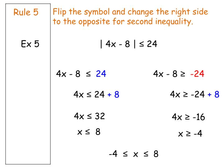 Flip the symbol and change the right side to the opposite for second inequality.