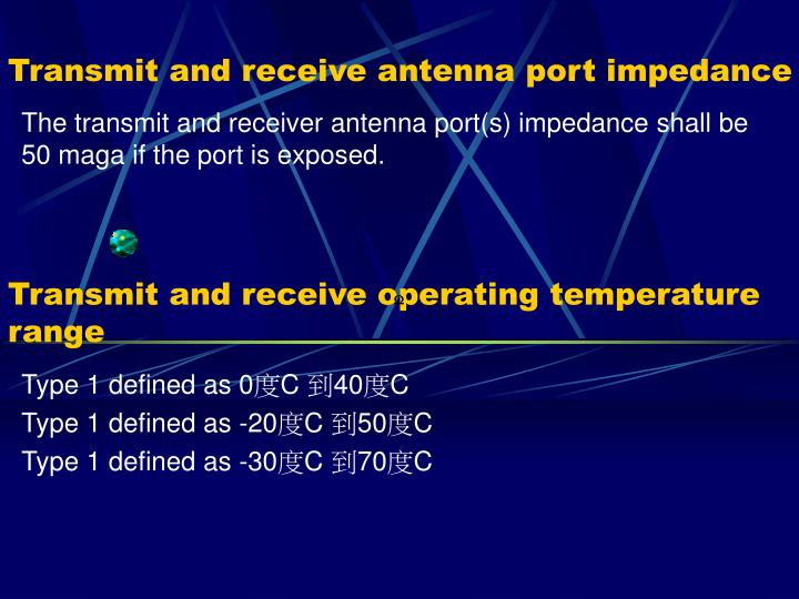 Transmit and receive antenna port impedance