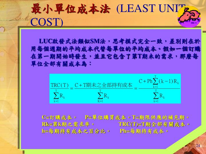 最小單位成本法