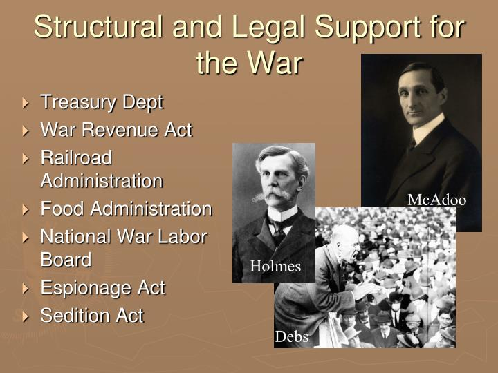Structural and Legal Support for the War
